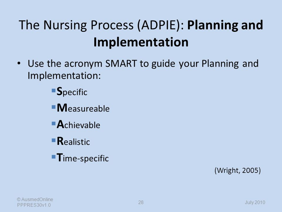 care of patient using adpie nursing process The nurse organizes the plan of care according to client problems rather than   decision making is involved in every phase of the nursing process  an actual  nursing diagnosis is based on the presence of associated signs and symptoms 2   and knowledge that a nurse performs to enhance patient/client outcomes.