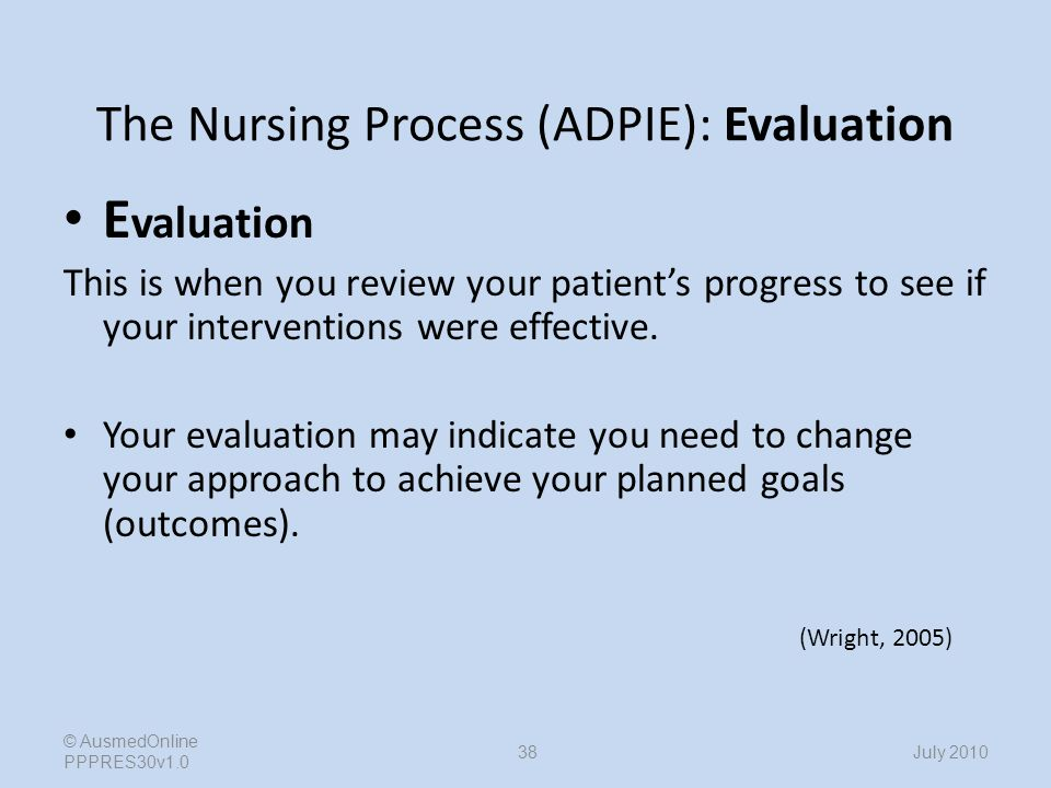 nursing process of adpie The nursing process is based on a nursing theory developed by ida jean  orlando she developed this theory in the late 1950's as she observed nurses in  action.