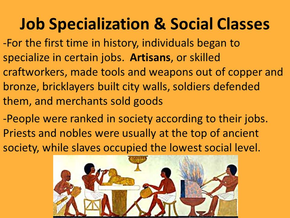 ancient mesopotamian specialized jobs Being a musician was a specialized job for men only  popular instruments of ancient mesopotamia consist of lyres, drums, and rattles.