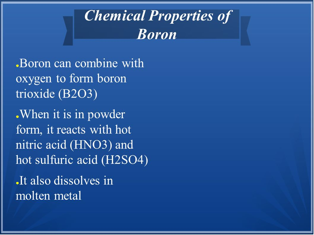 Chemical Properties of Boron
