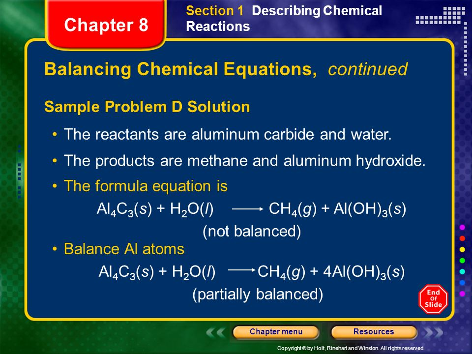 Balancing Chemical Equations, continued