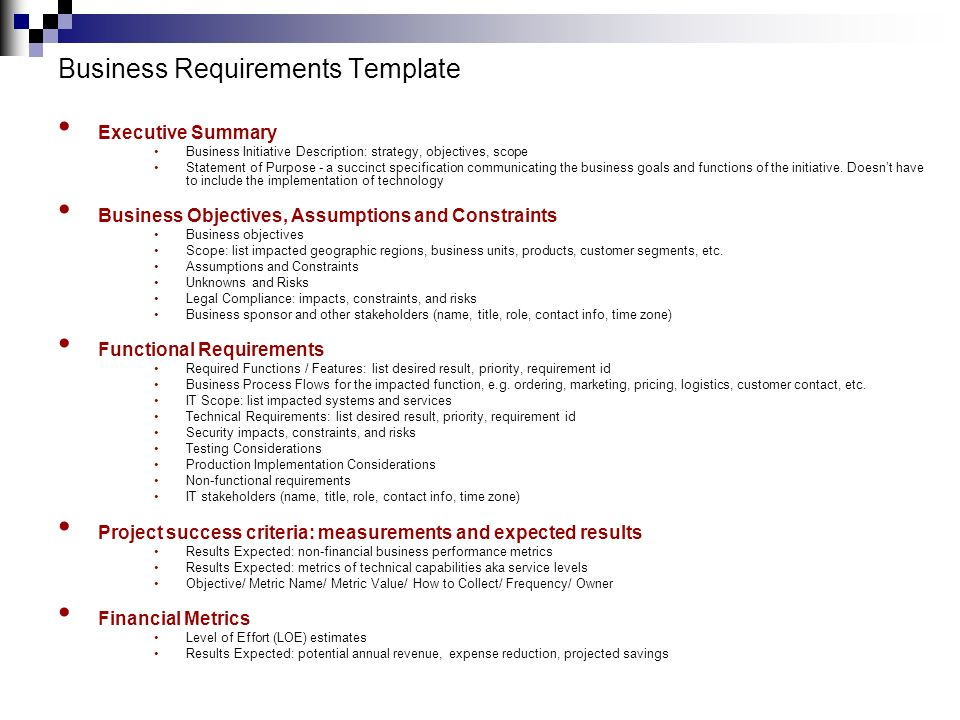 Technical Requirements Template. functional specification checklist ...
