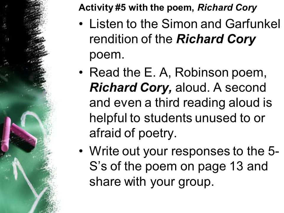 pre ap english the s strategies for passage analysis ppt listen to the simon and garfunkel rendition of the richard cory poem