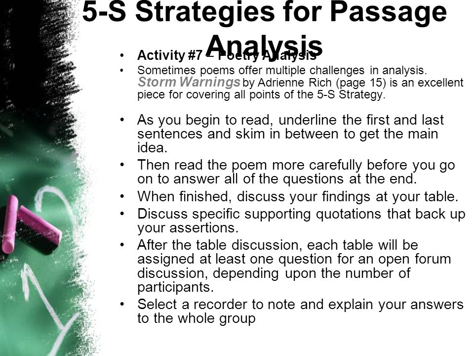 Analysing a passage: example and comment