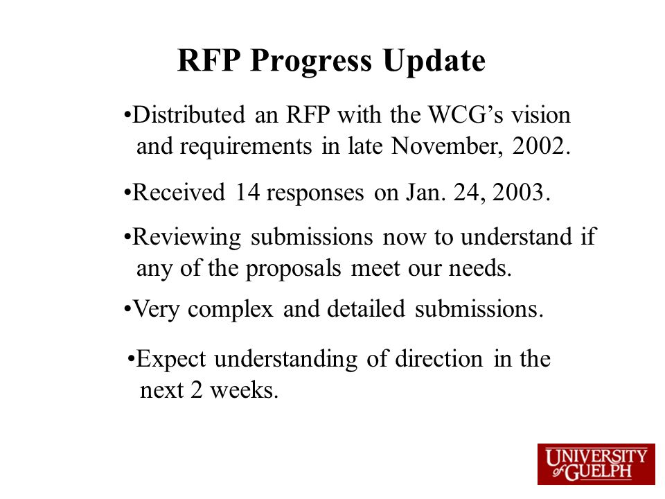 RFP Progress Update Distributed an RFP with the WCG's vision and requirements in late November, 2002.