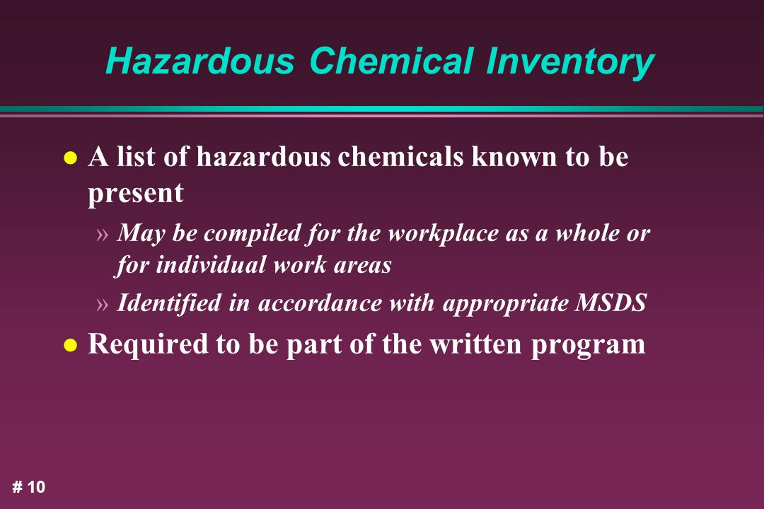 Hazardous Chemical Inventory
