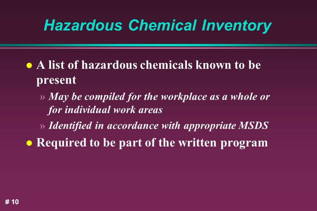 Hazardous Chemical Inventory
