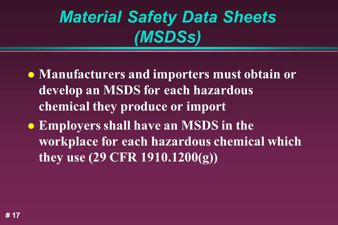 Material Safety Data Sheets (MSDSs)