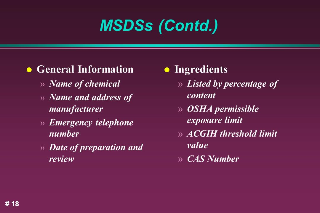 MSDSs (Contd.) General Information Ingredients Name of chemical