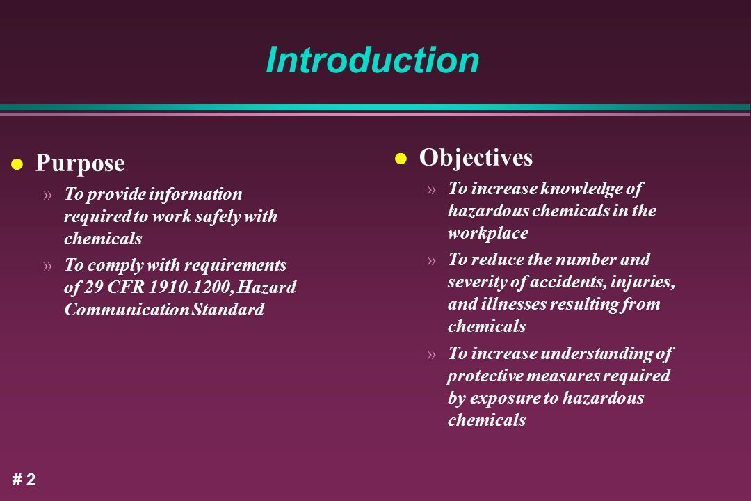 Introduction Objectives Purpose