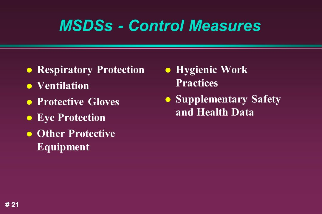 MSDSs - Control Measures
