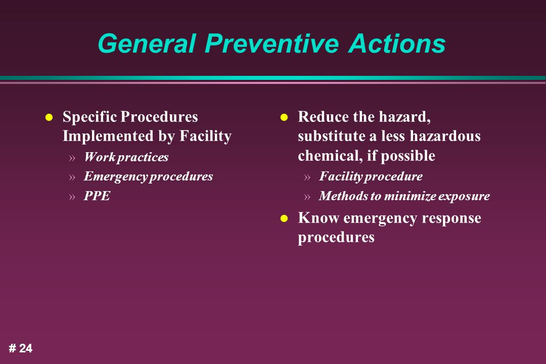 General Preventive Actions