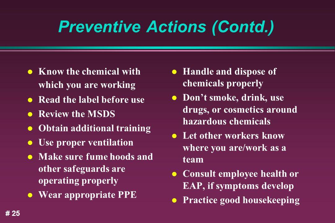 Preventive Actions (Contd.)