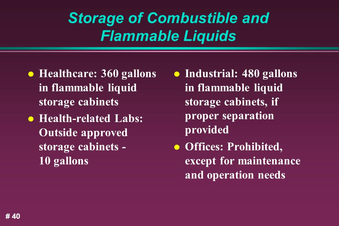 Storage of Combustible and Flammable Liquids