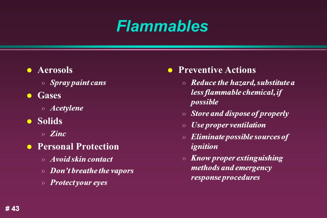 Flammables Aerosols Gases Solids Personal Protection