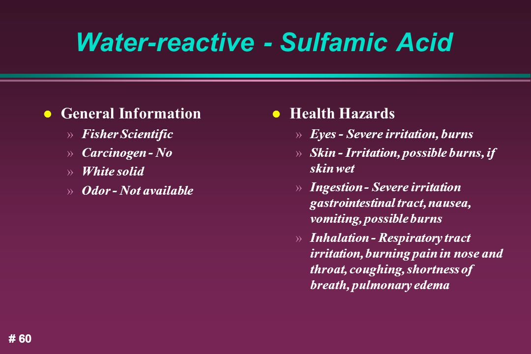 Water-reactive - Sulfamic Acid