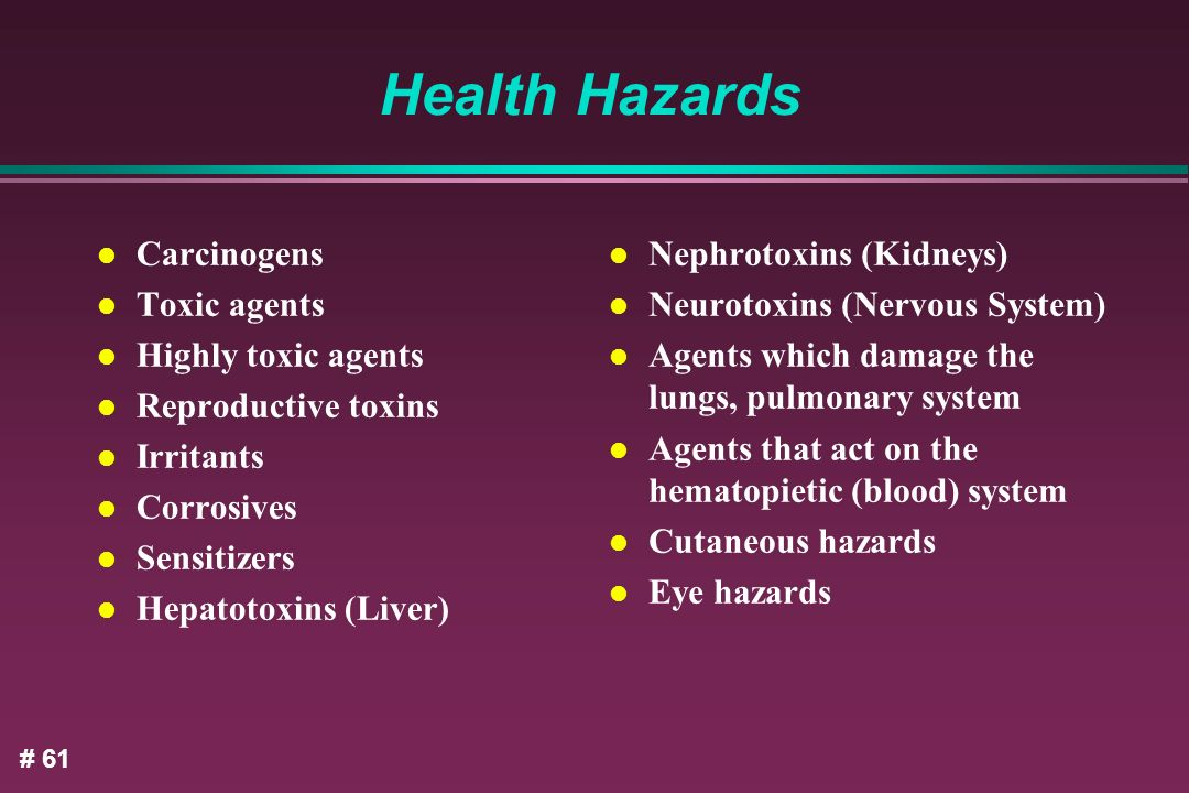 Health Hazards Carcinogens Toxic agents Highly toxic agents
