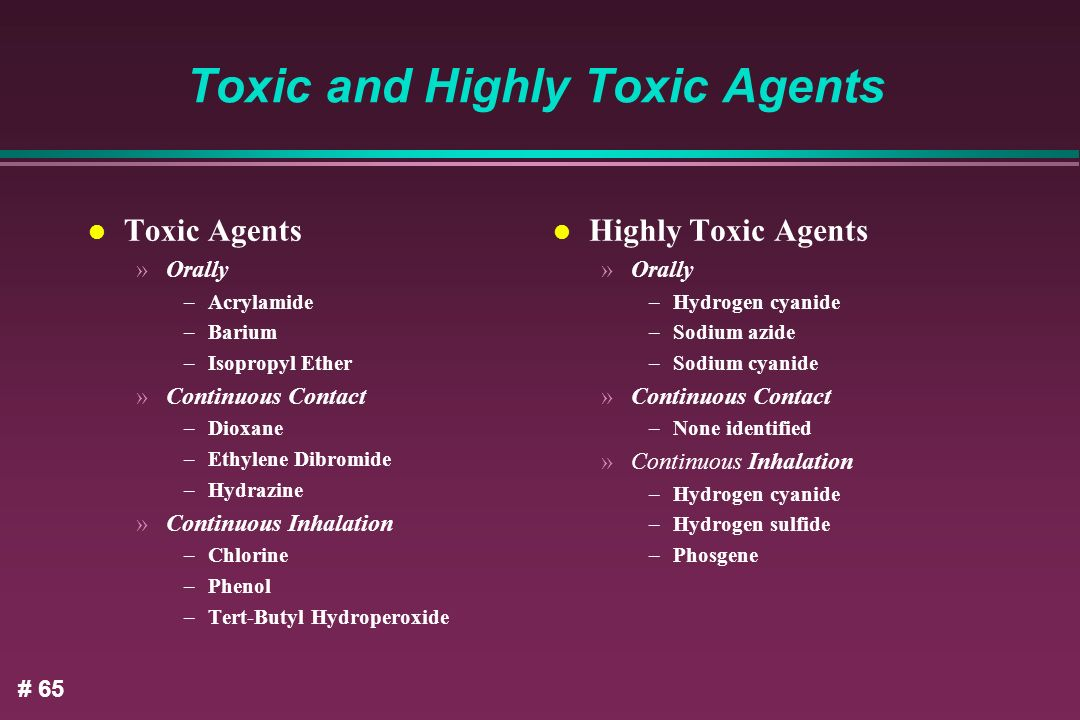 Toxic and Highly Toxic Agents
