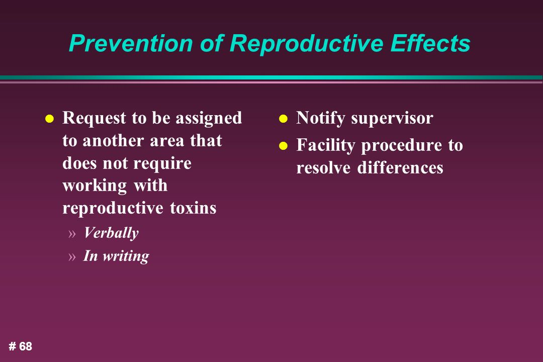 Prevention of Reproductive Effects