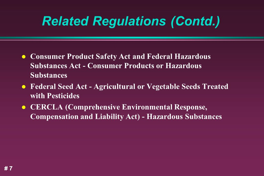 Related Regulations (Contd.)