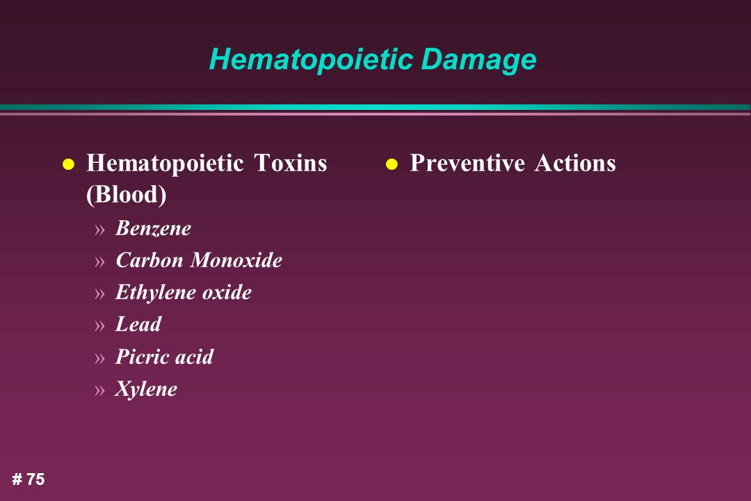 Hematopoietic Damage Hematopoietic Toxins (Blood) Preventive Actions