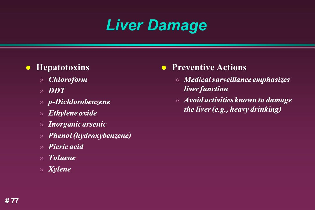Liver Damage Hepatotoxins Preventive Actions Chloroform DDT