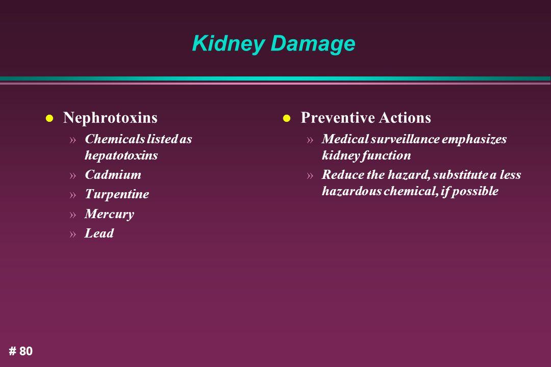 Kidney Damage Nephrotoxins Preventive Actions