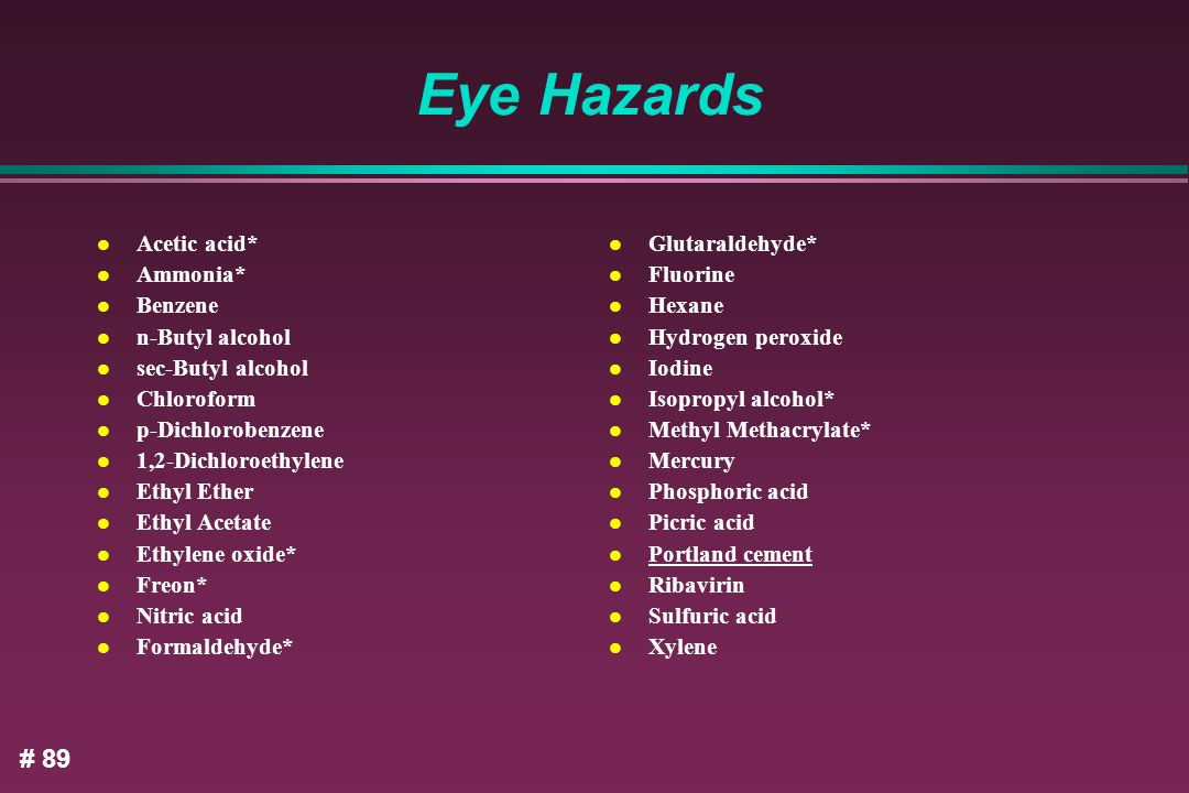 Eye Hazards # 89 Acetic acid* Ammonia* Benzene n-Butyl alcohol