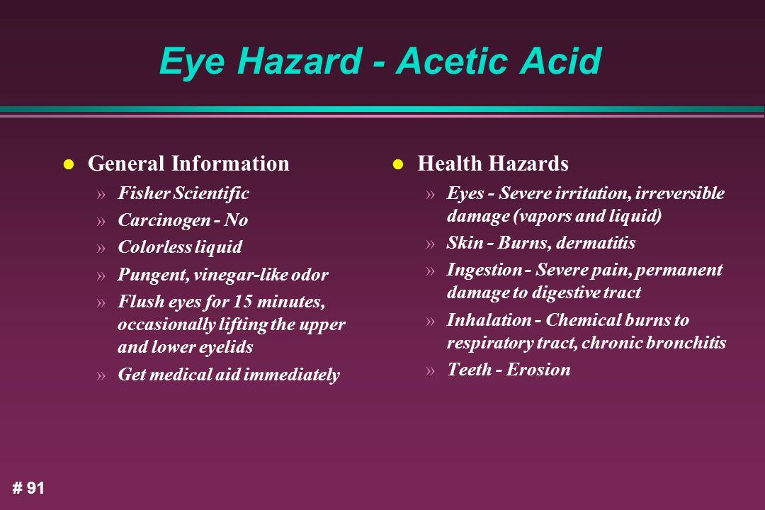 Eye Hazard - Acetic Acid