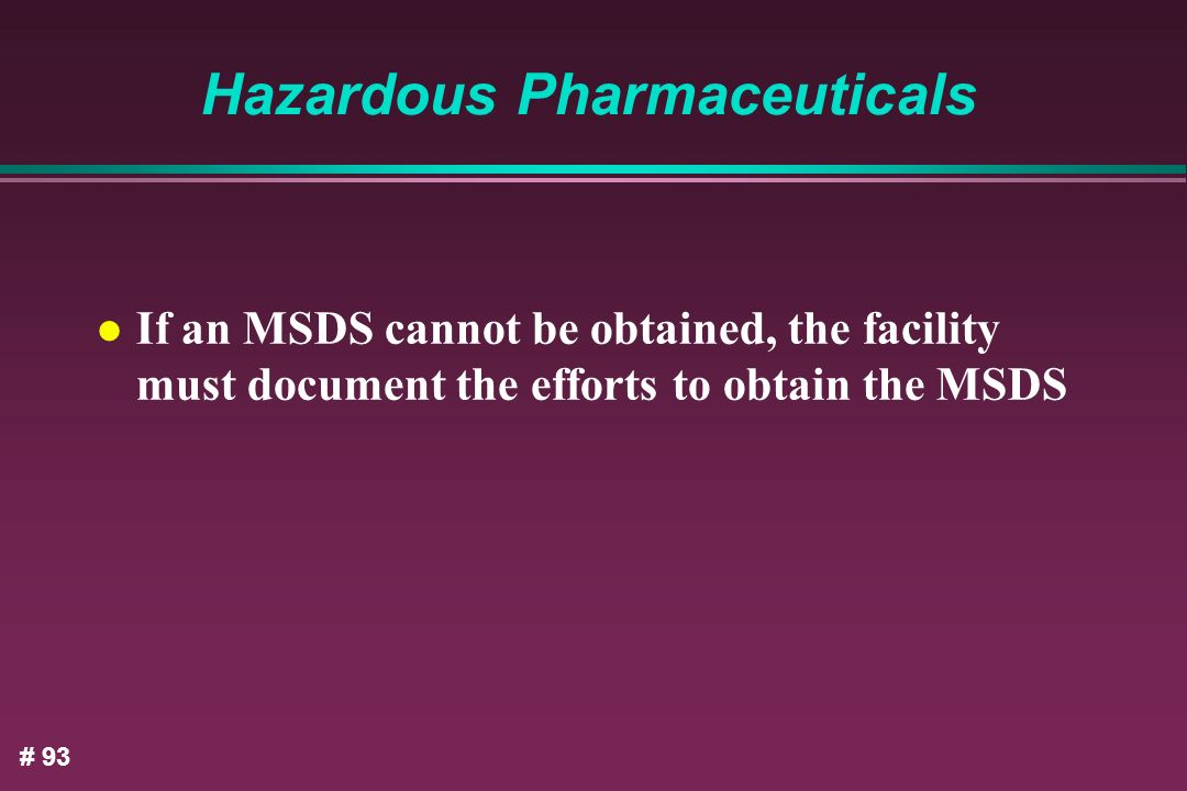 Hazardous Pharmaceuticals
