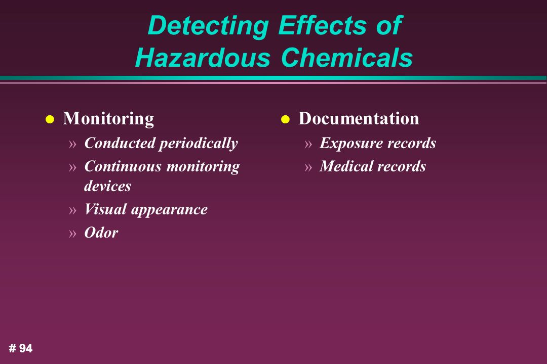 Detecting Effects of Hazardous Chemicals