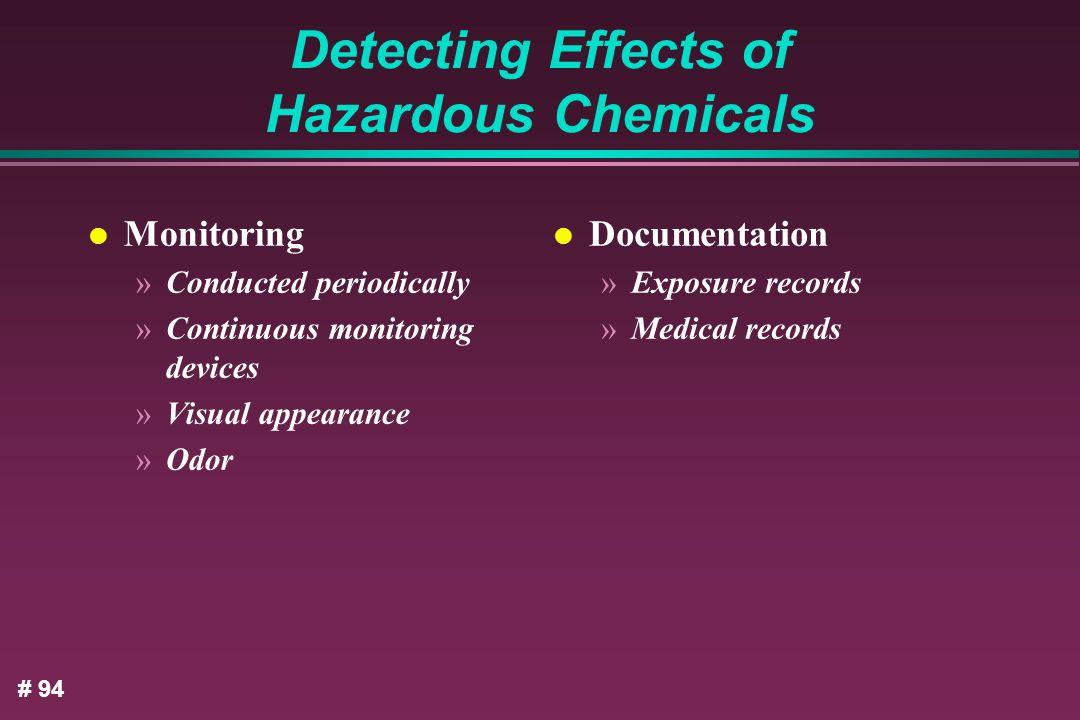 Detecting Effects of Hazardous Chemicals