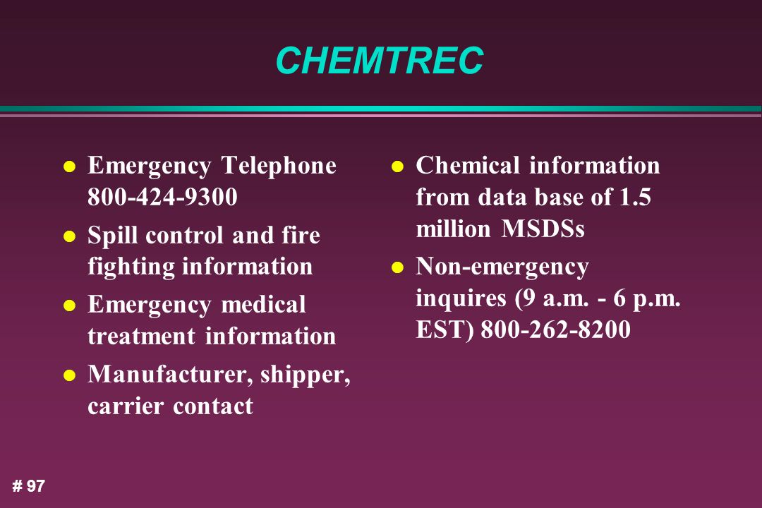 CHEMTREC Emergency Telephone