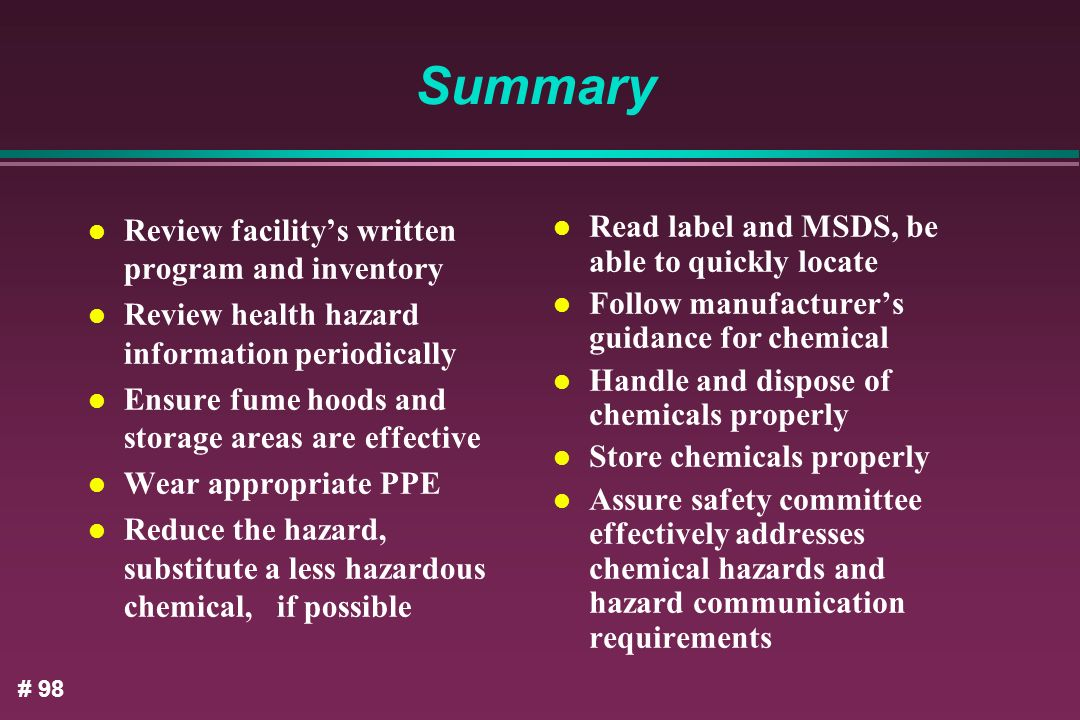 Summary Review facility's written program and inventory