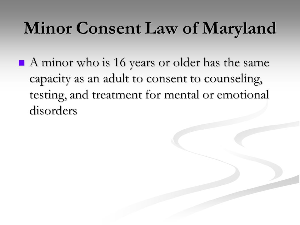 Maryland law dating a minor