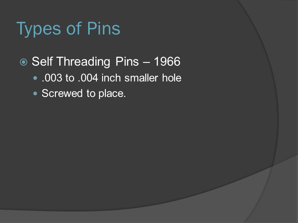 Types of Pins Self Threading Pins – 1966