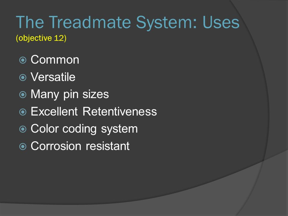 The Treadmate System: Uses (objective 12)
