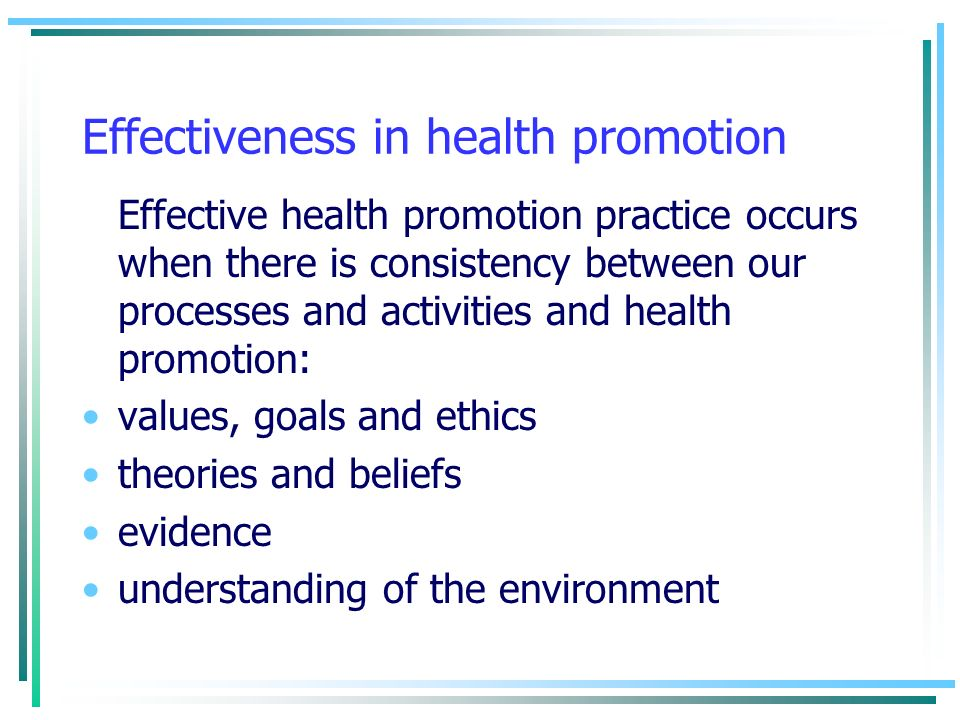 Effectiveness in health promotion