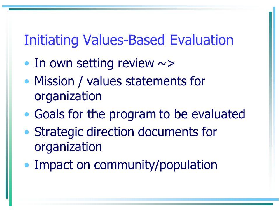 Initiating Values-Based Evaluation