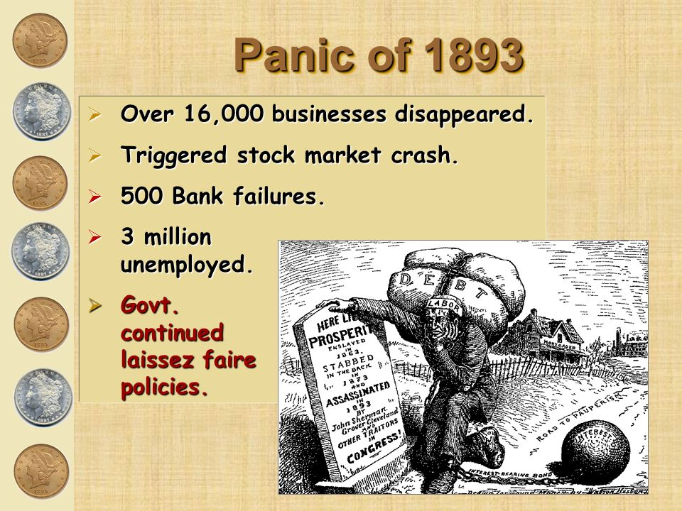 Panic of 1893 Over 16,000 businesses disappeared.