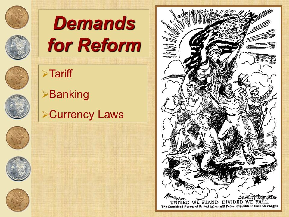 Demands for Reform Tariff Banking Currency Laws