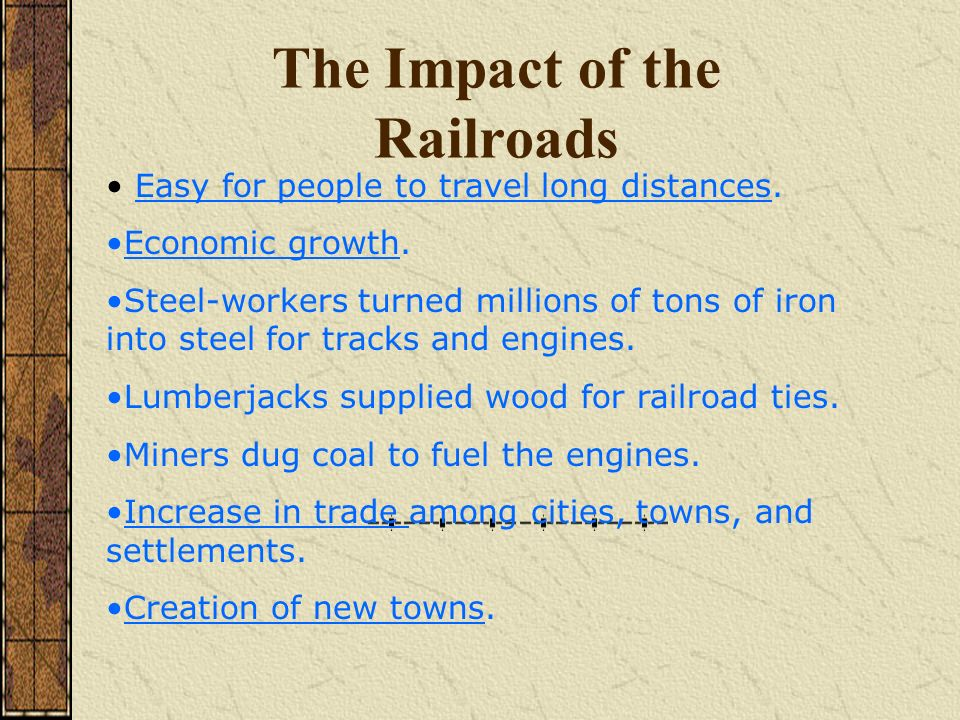 economic impact of railways His research on the economic impact of railways uses some innovative district- level data sets that he has constructed on prices, output, rainfall,.