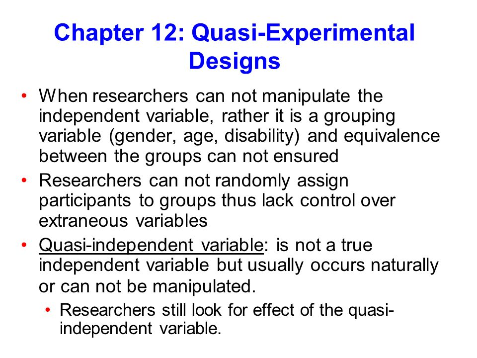 Chapter 12: Quasi-Experimental Designs - ppt video online ...