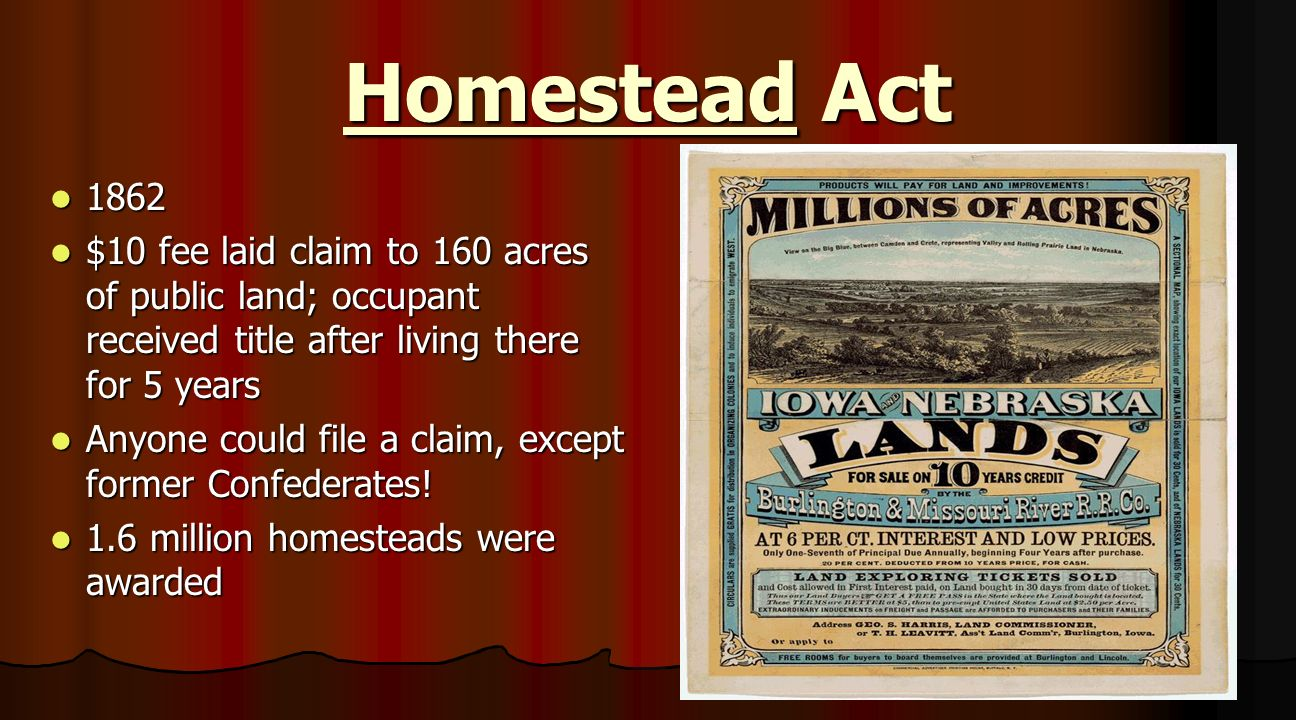 Technology and the west ppt video online download for Kansas homestead act