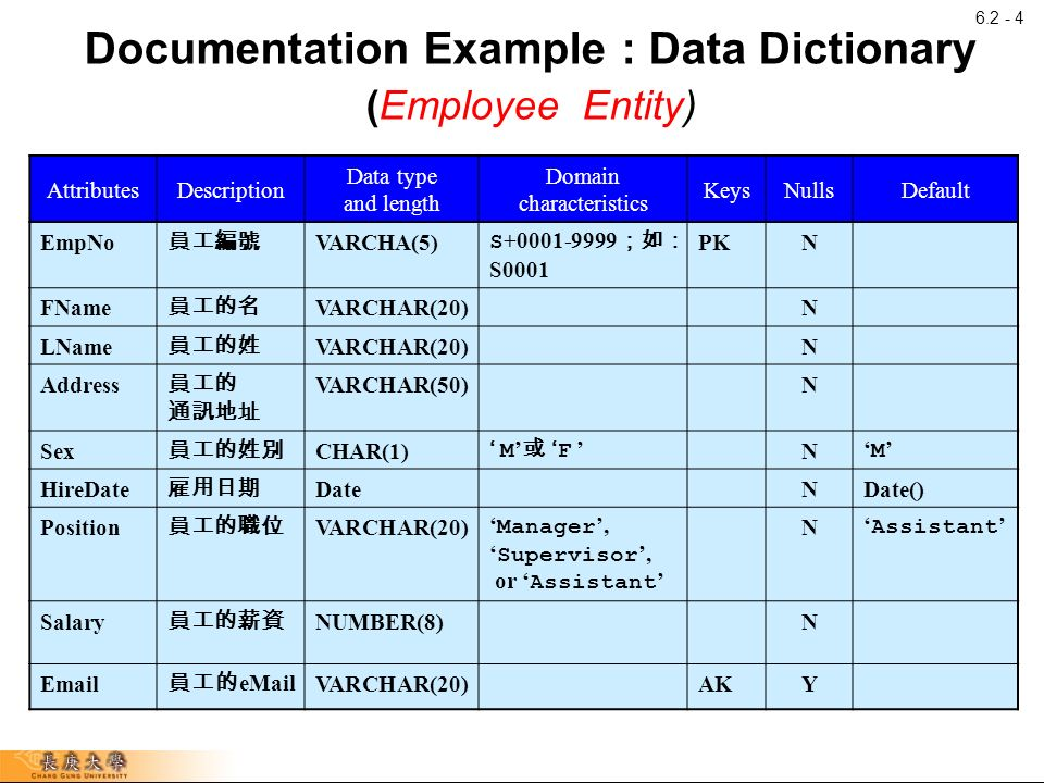 Developing data models for business databases part ii for Data dictionary