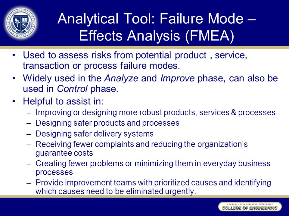 steps to preparation for failure mode and A potential failure mode represents any manner in which the component or process step could fail to perform its intended function or functions using the list of components and related functions generated in step 1, as a team, brainstorm the potential failure modes for each function.