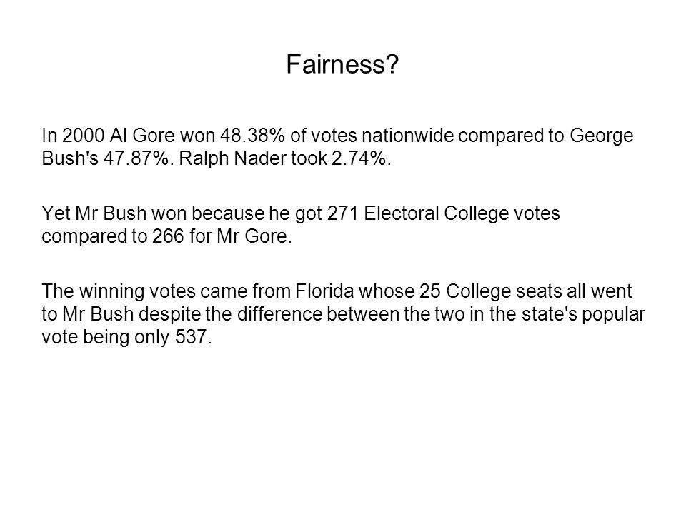Fairness In 2000 Al Gore won 48.38% of votes nationwide compared to George Bush s 47.87%. Ralph Nader took 2.74%.
