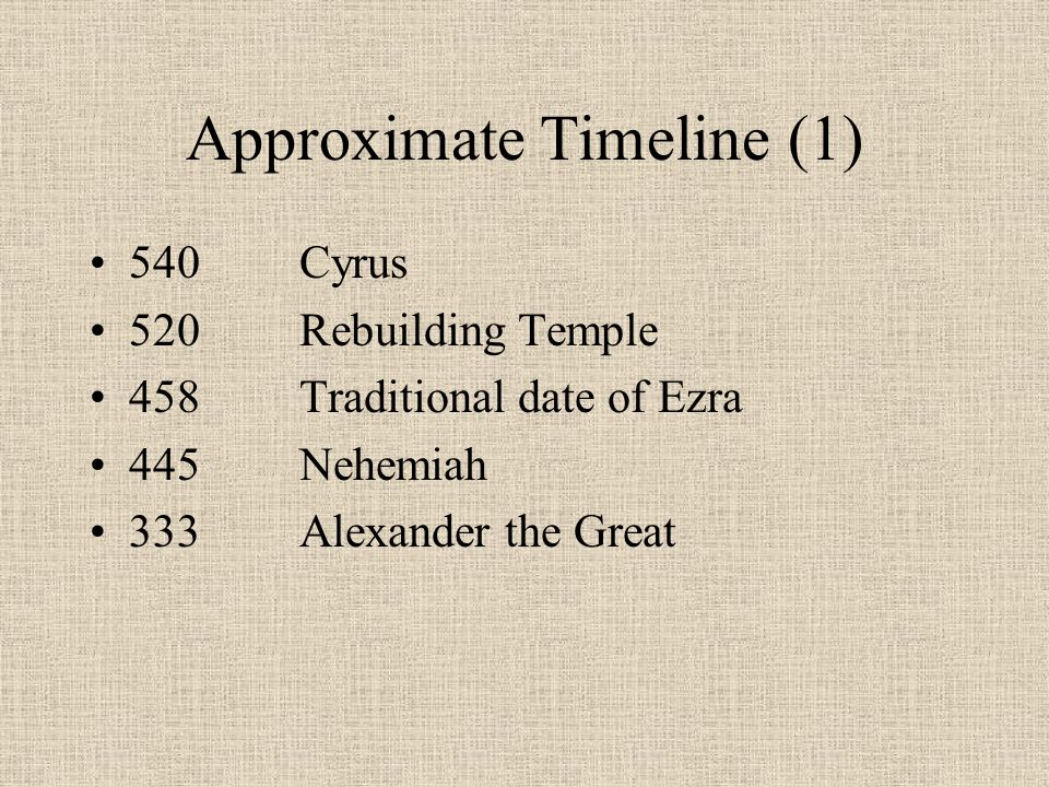 dating ezra nehemiah Establishing the date 457 bc search:  nehemiah, like ezra, was basing his dating on the reign of a  nehemiah was ezra's contemporary in time and circumstances.