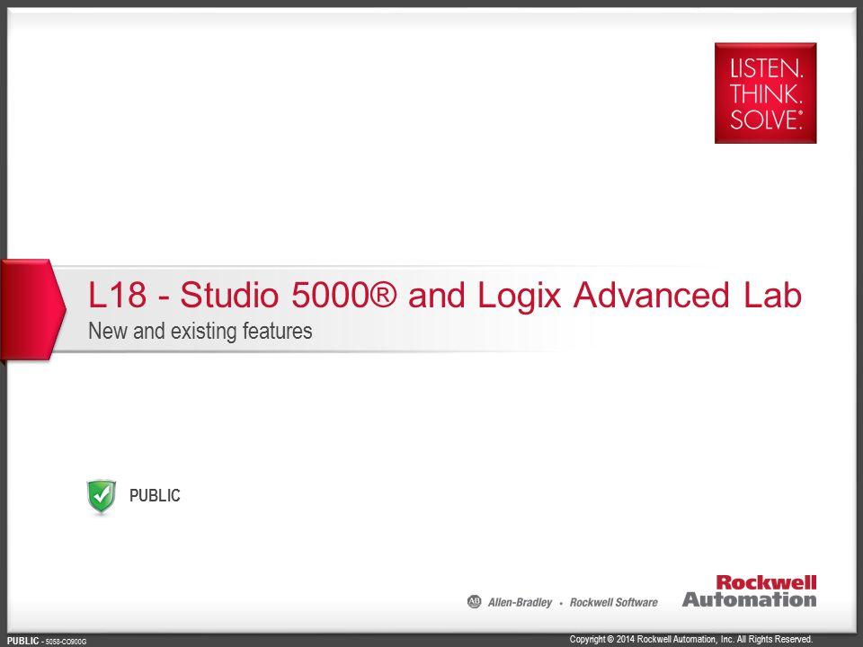 L18 - Studio 5000® and Logix Advanced Lab