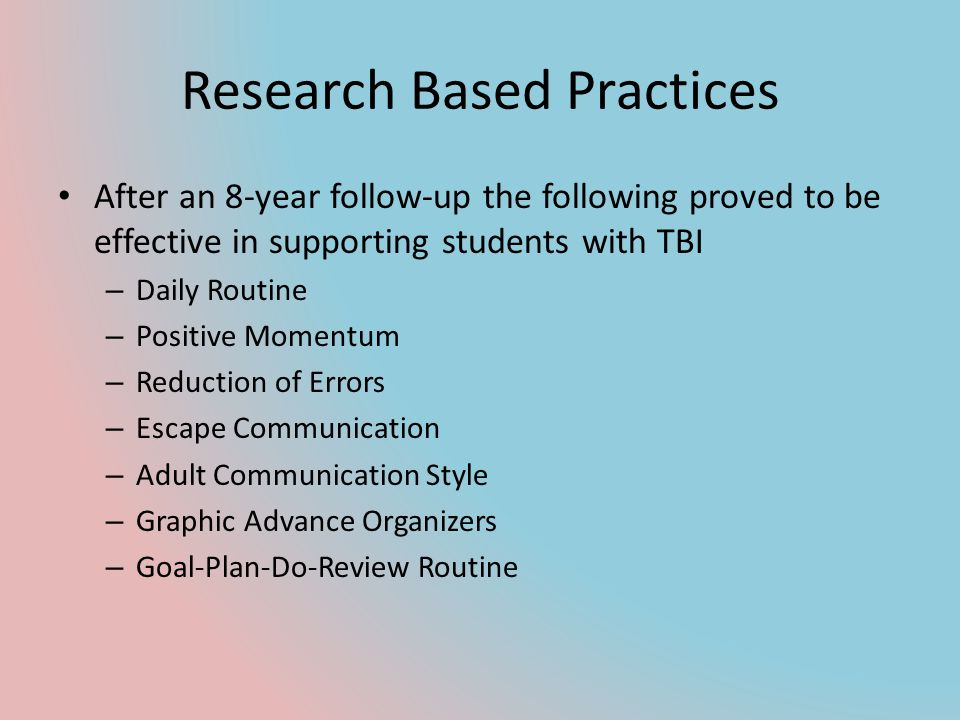 Research Based Practices